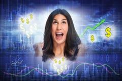 Lycklig aktieägarekvinna arkivbild