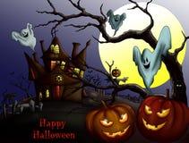 Lycklig allhelgonaafton med pumpa, det spökade huset och fullmånen Invi stock illustrationer