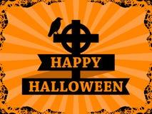 Lycklig allhelgonaafton Oktober 31st som är korpsvart på korset med bandet Ram med strålar på bakgrund letters amerikansk för fär vektor illustrationer