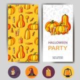 Lycklig allhelgonaaftonaffischdesign Vektormall med tecknad filmstilsymboler Etikett för tetidtappning Arkivfoton