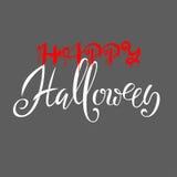Lycklig allhelgonaaftontext Ord är skriftliga i blod med bloddroppar Vektorillustration med grå bakgrund Arkivfoton