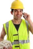 lycklig arbetare för byggmästarekonstruktion Royaltyfria Bilder