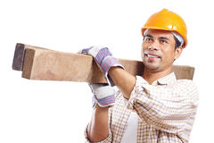 lycklig arbetare för konstruktion Fotografering för Bildbyråer