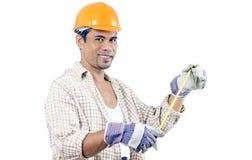 lycklig arbetare för konstruktion Arkivfoton