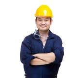 Lycklig asia byggnadsarbetare royaltyfria foton