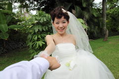 lycklig asiatisk brud Arkivbilder