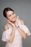 lycklig asiatisk härlig flicka Arkivfoton