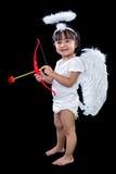 Lycklig asiatisk kinesisk liten ängel med pilbåge och pil Royaltyfri Fotografi