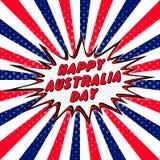Lycklig Australien dag 26th Januari halvton för bubbla för anförande för popkonst komisk Förälskelsetecknad filmexplosion Lycklig Royaltyfri Foto