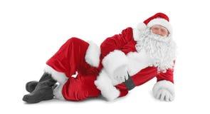 Lycklig autentisk Santa Claus liggande vit bakgrund Arkivfoton