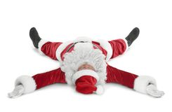 Lycklig autentisk Santa Claus liggande vit bakgrund Royaltyfria Foton