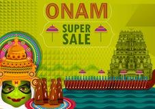 Lycklig bakgrund för befordran för försäljning för Onam festivalhälsningar som markerar den årliga hinduiska festivalen av Kerala royaltyfri illustrationer