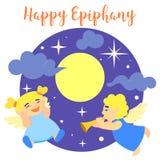 Lycklig bakgrund för epiphanyängelbegrepp, tecknad filmstil stock illustrationer