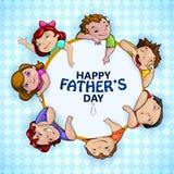 Lycklig bakgrund för hälsningar för dag för fader` s stock illustrationer
