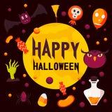 Lycklig bakgrund för halloween dagbegrepp, lägenhetstil stock illustrationer