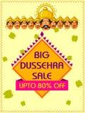 Lycklig bakgrund för mall för Dussehra Sale befordranannonsering för den Navratri festivalen av Indien vektor illustrationer