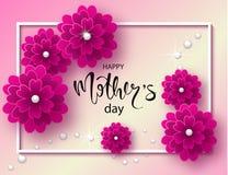 Lycklig bakgrund för moderdag med härliga blommor och pärlor Hälsningkort med hand dragen bokstäver Vektorillustrationtempla Arkivbild