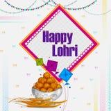 Lycklig bakgrund för religiös ferie för Lohri Punjabi för att skörda festival av Indien stock illustrationer