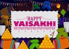Lycklig bakgrund för religiös ferie för Vaisakhi Punjabi för festival för nytt år av Punjab Indien vektor illustrationer