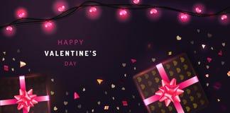 Lycklig bakgrund för valentindagbanret med realistiska gåvaaskar, blänker konfettier och glödande girlander Feriehälsningskort, p vektor illustrationer