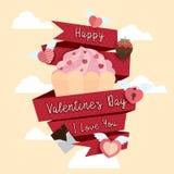 Lycklig bakgrund för Valentine Day symbolsdesign Royaltyfria Bilder