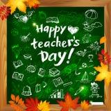 Lycklig bakgrund för vektor för dag för lärare` s med klotter på svart tavla Arkivbild