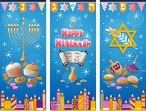 Lycklig bakgrund för vinter för Chanukkahhälsningkort stock illustrationer