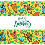 lycklig banerfödelsedag Vektorbakgrund för affischer vektor illustrationer