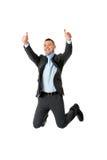 lycklig banhoppning för affärsman Royaltyfri Bild