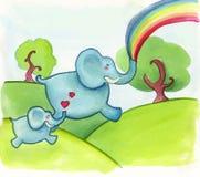 lycklig banhoppning för elefanter Arkivfoto