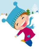 lycklig banhoppning för flicka Royaltyfria Bilder