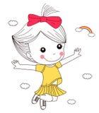 lycklig banhoppning för flicka little Fotografering för Bildbyråer