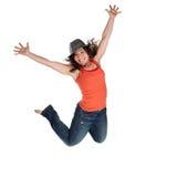 lycklig banhoppningkvinna Fotografering för Bildbyråer