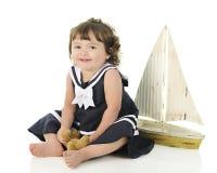Lycklig barfota sjöman Baby Arkivbild