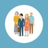 Lycklig barn-fri familjillustration royaltyfri illustrationer