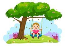 Lycklig barnflicka som skrattar och svänger på en gunga under trädet stock illustrationer