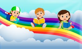Lycklig barnläsebok över regnbågen stock illustrationer