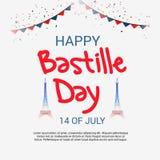 Lycklig Bastilledag 14th Juli Arkivfoton