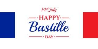 Lycklig Bastilledag 14th Juli Franskaferie Arkivfoto