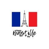 Lycklig Bastilledag 14th Juli Franskaferie Arkivbild