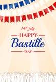 Lycklig Bastilledag 14th Juli Franskaferie Arkivbilder