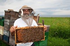 lycklig beekeeper Fotografering för Bildbyråer
