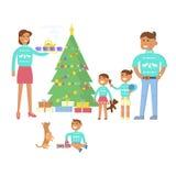 lycklig begreppsfamilj vektor illustrationer