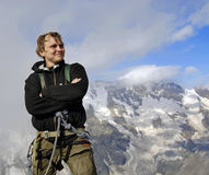 lycklig bergsbestigare Fotografering för Bildbyråer