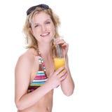 lycklig bikiniflicka Fotografering för Bildbyråer