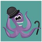 Lycklig bläckfisk med hatten Royaltyfri Bild