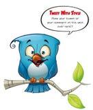Lycklig blå fågel för disktanthögtalare Royaltyfri Bild