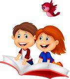 Lycklig bok för barntecknad filmridning Fotografering för Bildbyråer