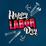 Lycklig bokstäver för arbets- dag Tecknad filmdesign med konstruktionshjälpmedel på bakgrund för popkonst royaltyfri illustrationer