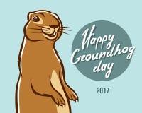 Lycklig bokstäver för illustration för Groundhog dag Arkivfoto